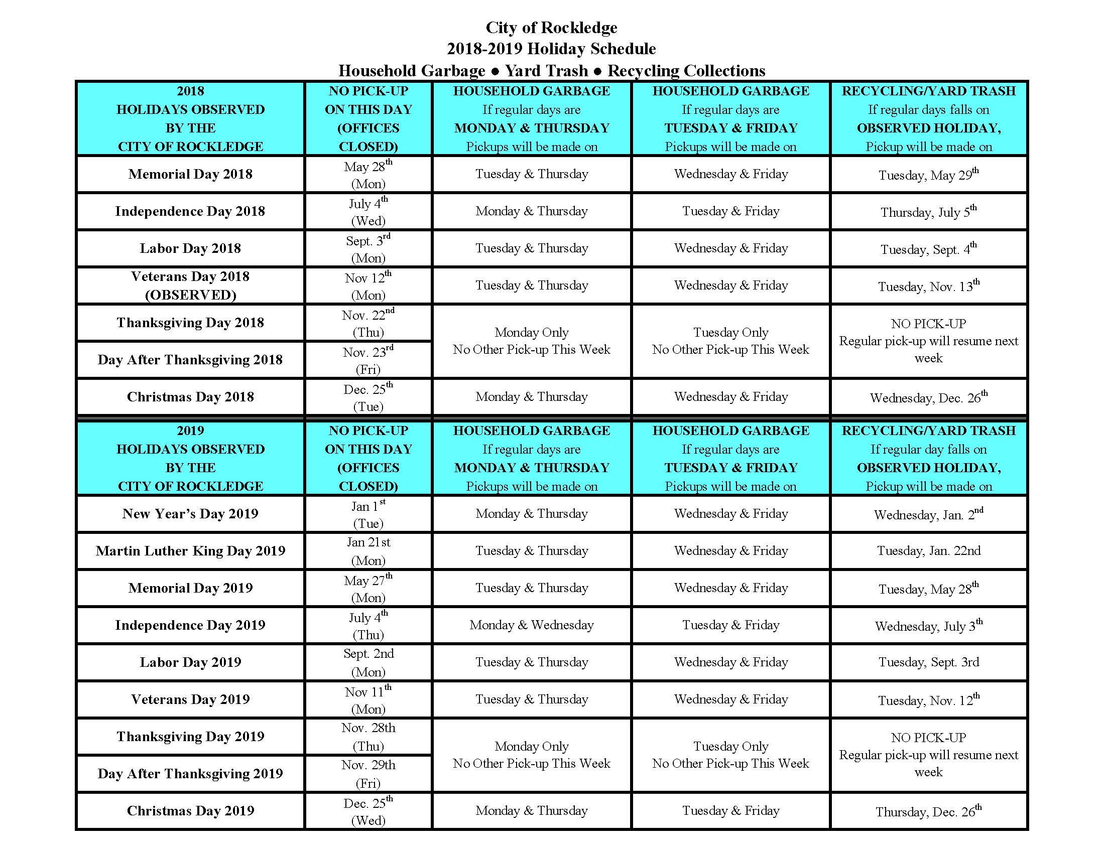 Copy of 2018-2019 HOLIDAY SCHEDULE