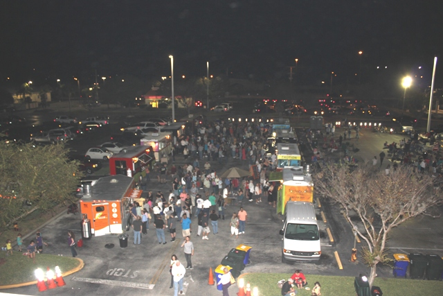 Food Truck Bazaar at night