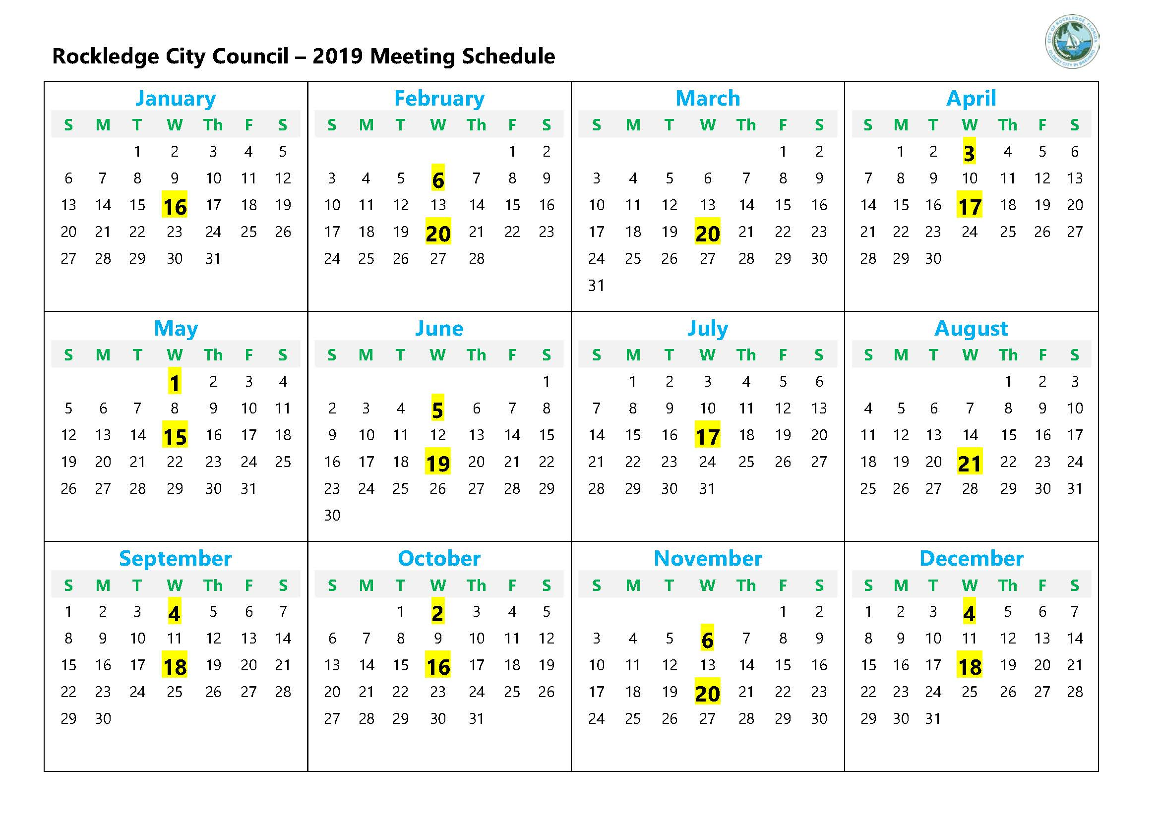 2019 ADOPTED Meeting Schedule-