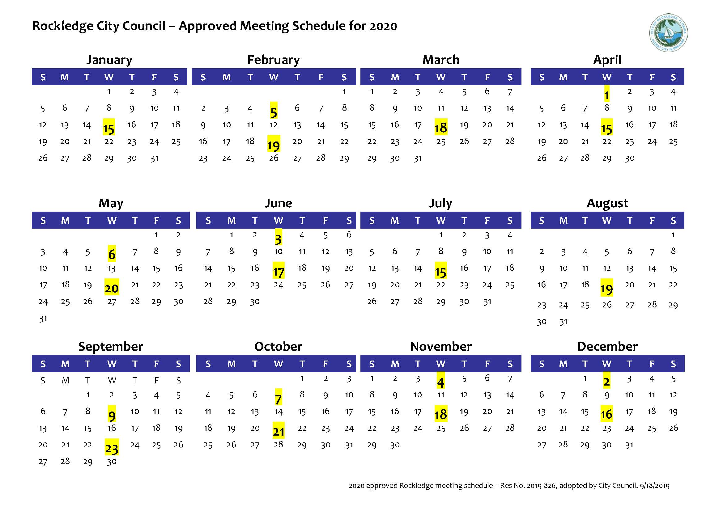 2020 APPROVED City Council meeting schedule USE
