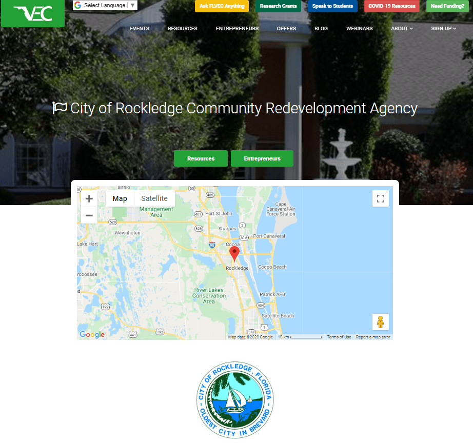 Screenshot of the Florida Virtual Entrepreneur Center website
